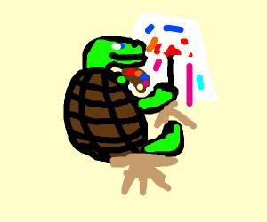 animal making art with liquid paint