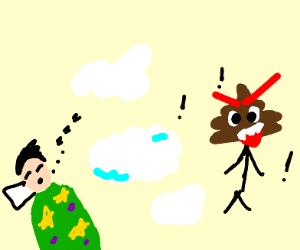cloud protecting sleeping man from poop guy