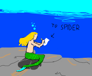 Mermaid writing a letter to Spider