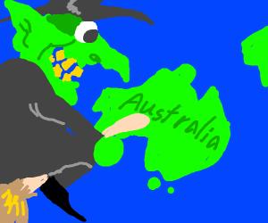 Witch flies to Australia