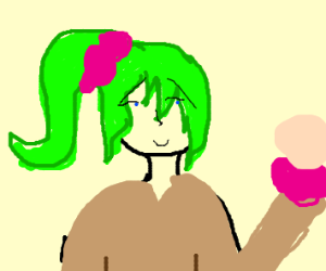 green hair schoolgirl with pink scrunchies