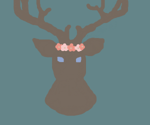 Deer with blue eyes and a flower crown