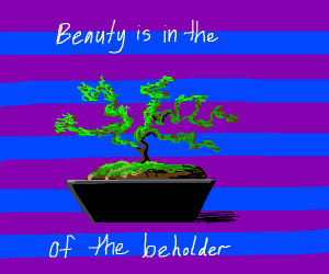 Bonsai tree with an inspiring message