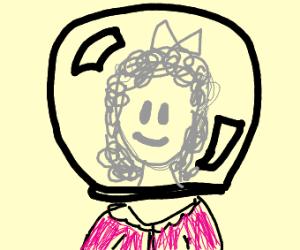 Woman wearing a bubble helmet