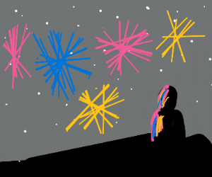 a man watching the fireworks