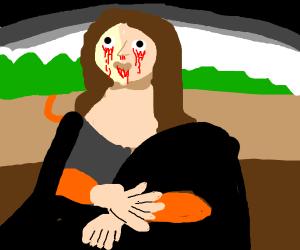 The mona lisa is bleeding