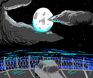 Car parked under a moonlit sky