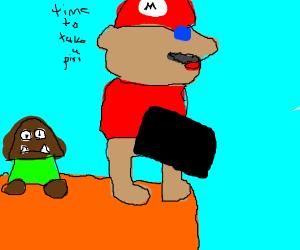 Black mario taking a piss