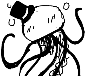 jelly fish with a top hat drunkenly happy