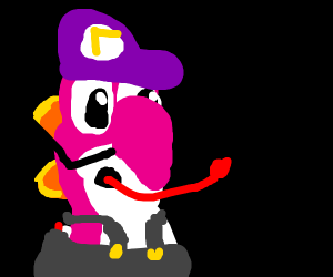 waluigi with his tongue sticking out