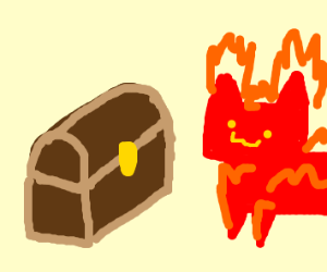 A fire cat finds a treasure chest