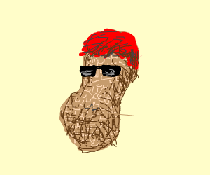 Peanut with red hair and sunglasses