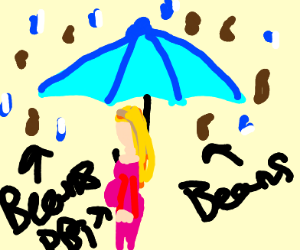 Beans and h20 umbrellas and two people