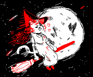 Cat witch flies by the moon on a broom