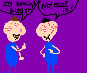 Two Man bragging about their big brains