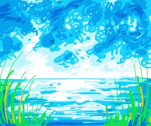 An idyllic view on a riverbank