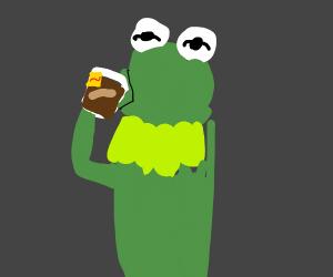 Kermit drinks my fruity tea