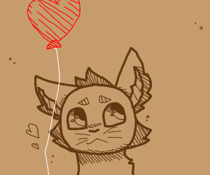 Brown cat holding red balloon