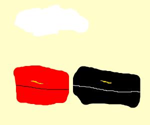 red box. black box. a cloud