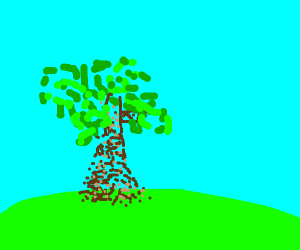 Tree, drawn using small colored dots.