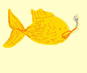 Fish is smoking