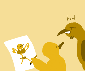 A very good drawing of a bird who's to hot