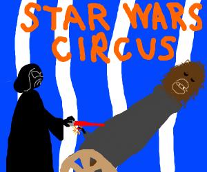 Darth Vader shooting chewbacca