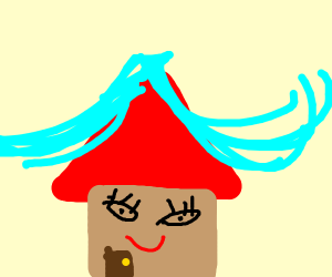 A blue lady house with cyan hair