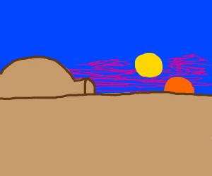 sunset on tattooine