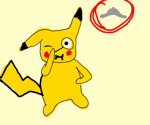 Pikachu looking for detective hat