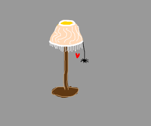 Spider in love with lamp