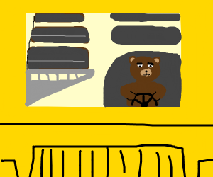 A bear is driving the bus!