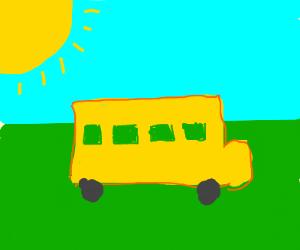 Bus in the sun.