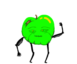 Smexy Granny Smith apple with legs