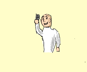 creepy man holding a credit card