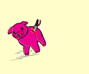 Pig got stabbed