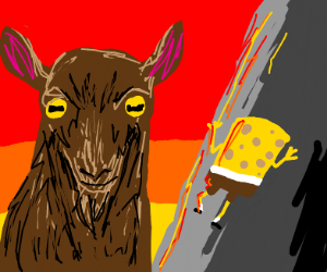 Giant goat next to spongebob who climbs a roc