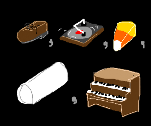 Shoe, turntable, candycorn, PVC, organ