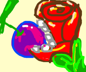 A rose eating a blueberry