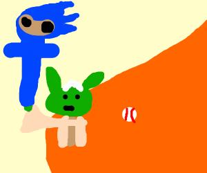 Yoda uses a Sonic baseball bat