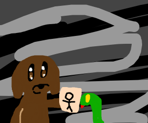 dog giving snake a picture of a stick man
