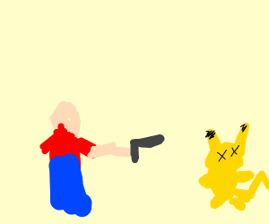 Man shooting pikachu