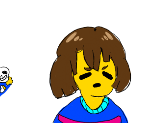 Sans creepily stands behind Frisk