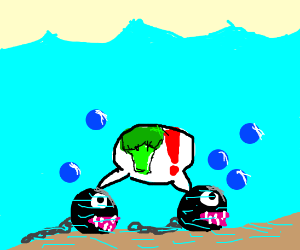 Chain chomps in the water want broccoli