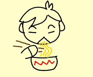 Asian person eating noodles