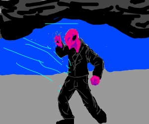 pink person in a storm has blue tooth