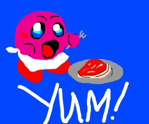 Kirby Enjoying a Steak