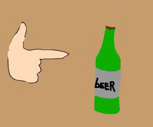Finger-gun pointing at beer