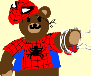 A bear in a Spiderman costume.