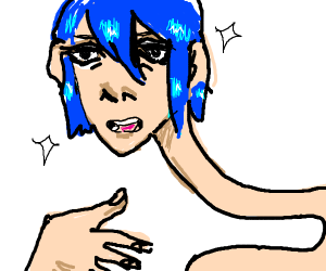 Blue hair guy has a stupidly long neck